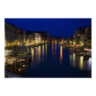 Italy, Venice, Night View Along the Grand 2 Poster