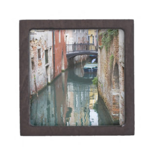 Italy, Venice, Reflections and Small Bridge of Jewelry Box