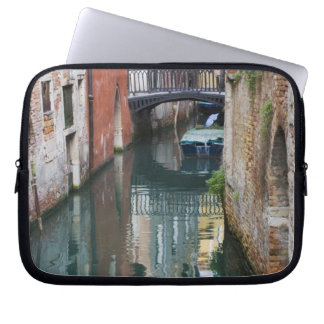 Italy, Venice, Reflections and Small Bridge of Laptop Sleeve