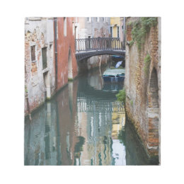 Italy, Venice, Reflections and Small Bridge of Notepad