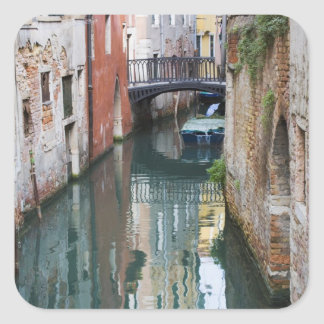 Italy, Venice, Reflections and Small Bridge of Square Sticker