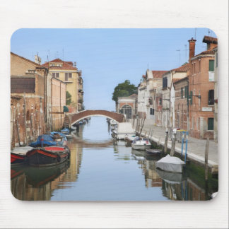 Italy, Venice. View of boats and homes along one Mouse Pad