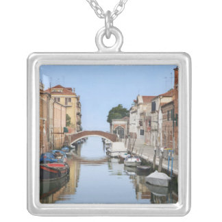 Italy, Venice. View of boats and homes along one Silver Plated Necklace