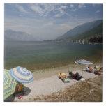 Italy, Verona Province, Brenzone. Lake Garda Ceramic Tile