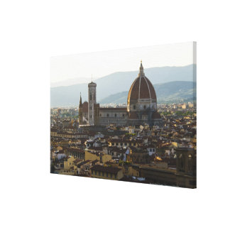 Italy, View of Florence with Basilica di Santa Canvas Print