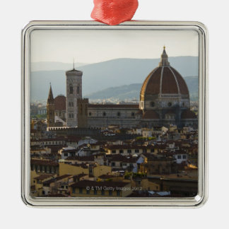 Italy, View of Florence with Basilica di Santa Square Metal Christmas Ornament