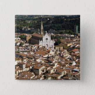 Italy, View of Florence with Church of Santa 2 Pinback Button