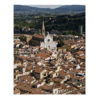 Italy, View of Florence with Church of Santa 2 Poster
