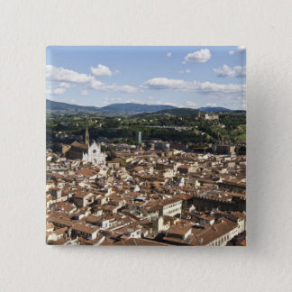 Italy, View of Florence with Church of Santa Button