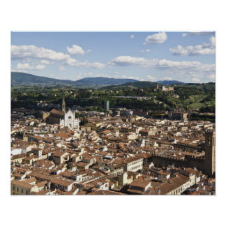 Italy, View of Florence with Church of Santa Poster