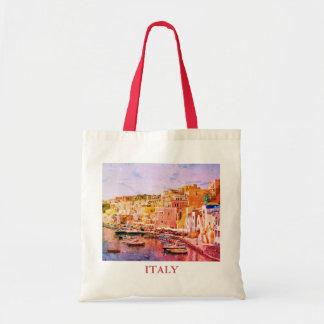 Italy Vintage Art Fishing Harbor in Procida Tote Bag