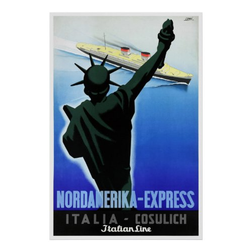 Italy Vintage Travel Poster Restored