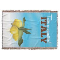 Italy vintage travel poster throw