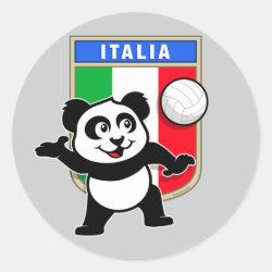 Round Sticker with Italian Volleyball Panda design