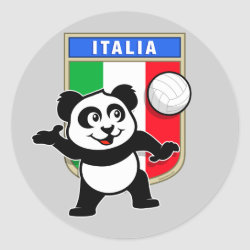 Round Sticker with Italian Volleyball Panda design