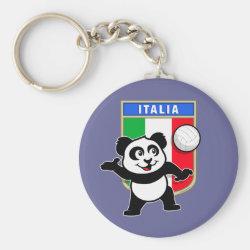 Basic Button Keychain with Italian Volleyball Panda design
