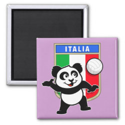 Square Magnet with Italian Volleyball Panda design