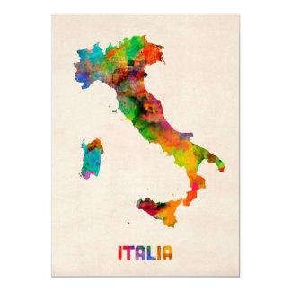 Italy Watercolor Map, Italia Card