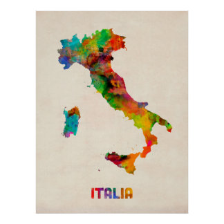 Italy Watercolor Map, Italia Poster
