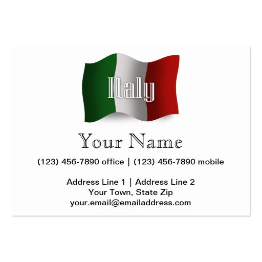 Italy Waving Flag Large Business Cards (Pack Of 100)