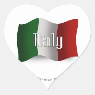 Italy Waving Flag Heart Sticker