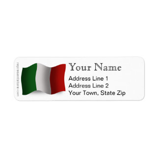 Italy Waving Flag Return Address Label