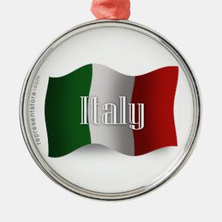 Italy Waving Flag Metal Ornament
