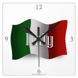 Italy Waving Flag Square Wall Clock