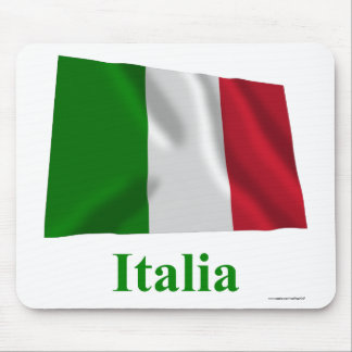 Italy Waving Flag with Name in Italian Mouse Pad