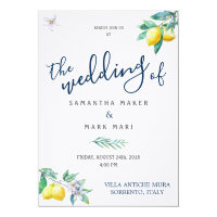 Italy Wedding Invitation, Lemon and Olive Theme Invitation