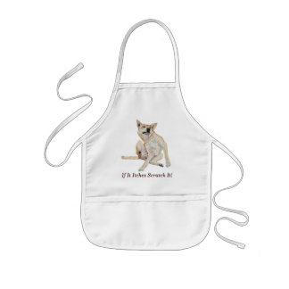 itchy dog scratching painting with funny slogan kids' apron