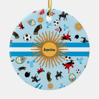 Items of Argentina with flag across it Ceramic Ornament