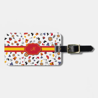 Items of Spain with flag to add your monogram Bag Tag