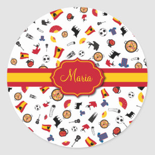 Items of Spain with flag to add your name Classic Round Sticker