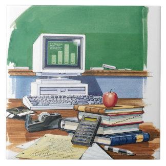 Items on a school teachers desk  Color Ceramic Tile