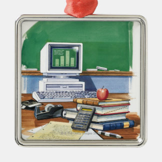 Items on a school teachers desk  Color Metal Ornament