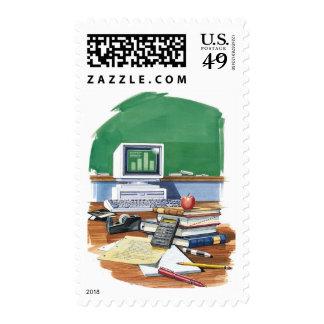 Items on a school teachers desk Color Stamps