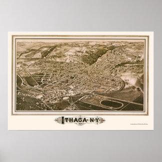 Ithaca, mapa panorámico de NY - 1882 Póster