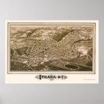 Ithaca, mapa panorámico de NY - 1882 Posters