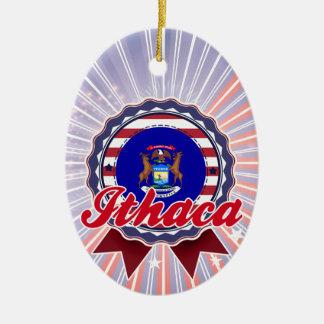 Ithaca, MI Adorno Ovalado De Cerámica