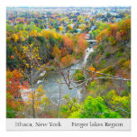 ITHACA NEW YORK FINGER LAKES REGION poster Perfect Poster