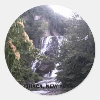 ITHACA, NUEVA YORK PEGATINA REDONDA