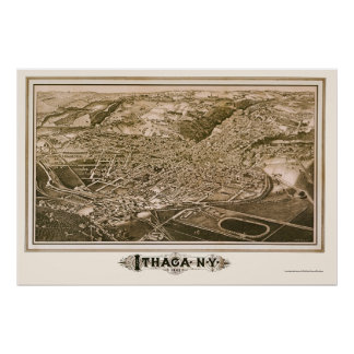 Ithaca, NY Panoramic Map - 1882 Poster