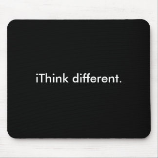 iThink different White on Black Mouse Pads