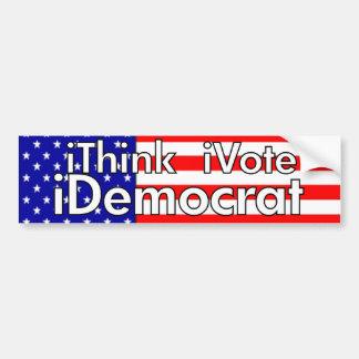 iThink, Vote, Democrat Car Bumper Sticker