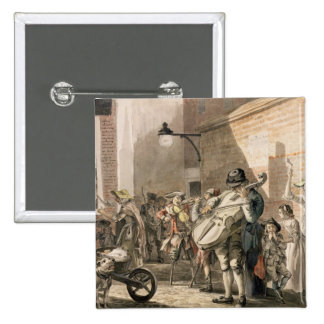 Itinerant Musicians playing in a poor part of town 2 Inch Square Button