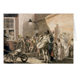 Itinerant Musicians playing in a poor part of town Greeting Card