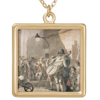 Itinerant Musicians playing in a poor part of town Square Pendant Necklace