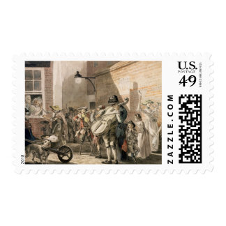 Itinerant Musicians playing in a poor part of town Postage Stamp