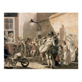 Itinerant Musicians playing in a poor part of town Post Card